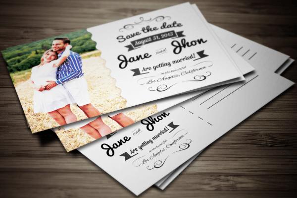 Elegant Wedding Invitation Postcard By Graphic Boutique On