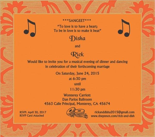 Wedding Invitation Wording For Sangeet Ceremony