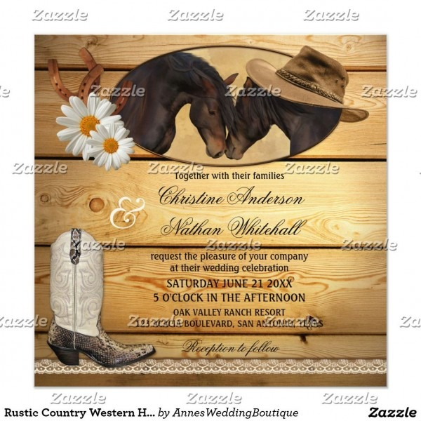Rustic Country Western Horses Wedding Invitation In 2019
