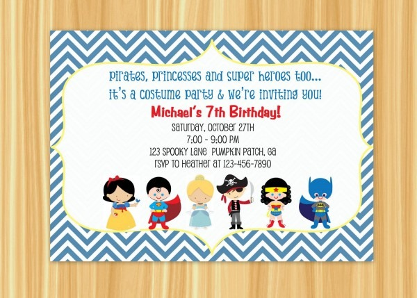 Custom Printable Kids Costume Party Birthday Invitation  $10 00