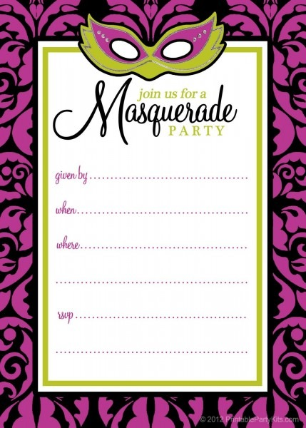 Free Printable Party Invitations  Masquerade Or Mardi Gras Party