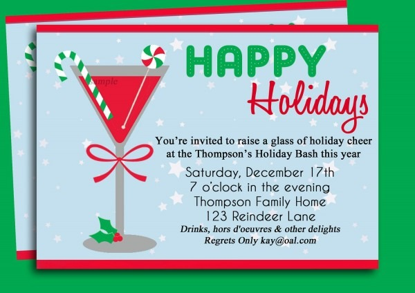 Christmas Cocktail Party Invitation Printable