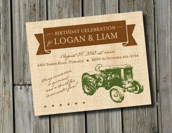 Diy Printable Vintage Tractor Birthday Invitation Digital File