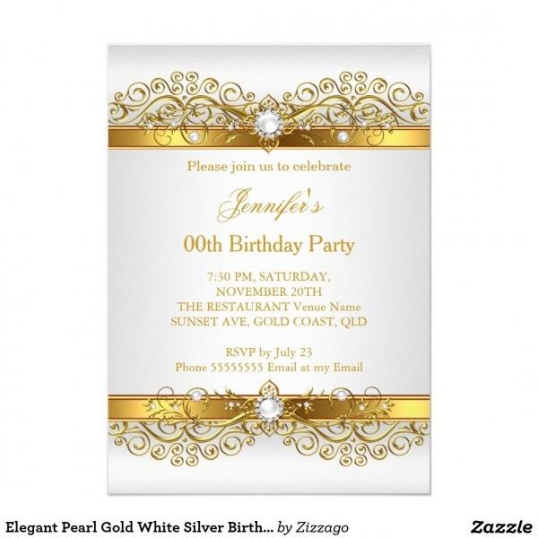 Elegant Pearl Gold White Silver Birthday Party Invitation