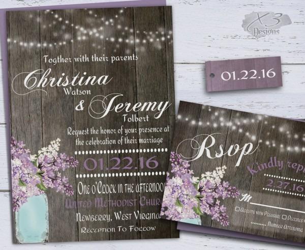 Rustic Wedding Invitation, Country Mason Jar Wedding Invitations