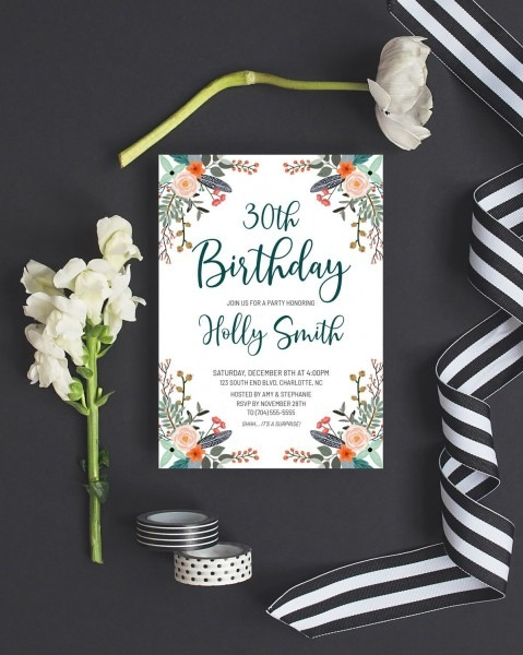Floral Birthday Invitation Template Download, Boho Birthday