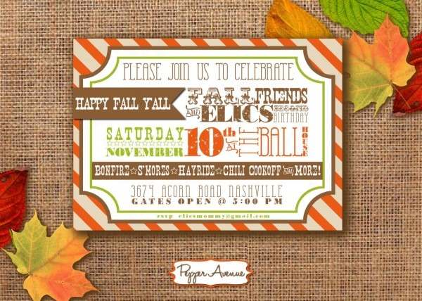 Fall Festival Party ~personalized Printable Pdf Invitation