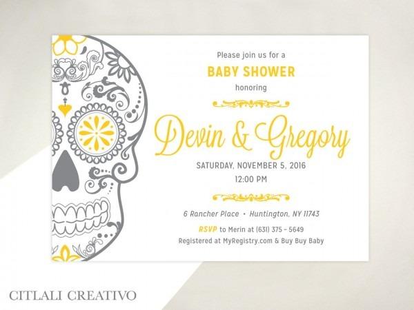 Golden Sugar Skull Baby Shower Invitations