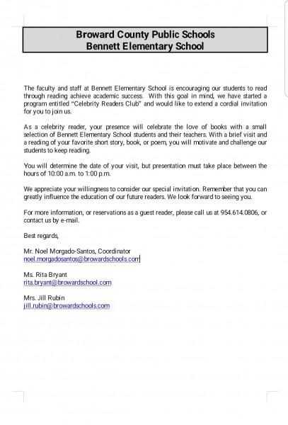 Celebrity Reader's Club Invitation Letter