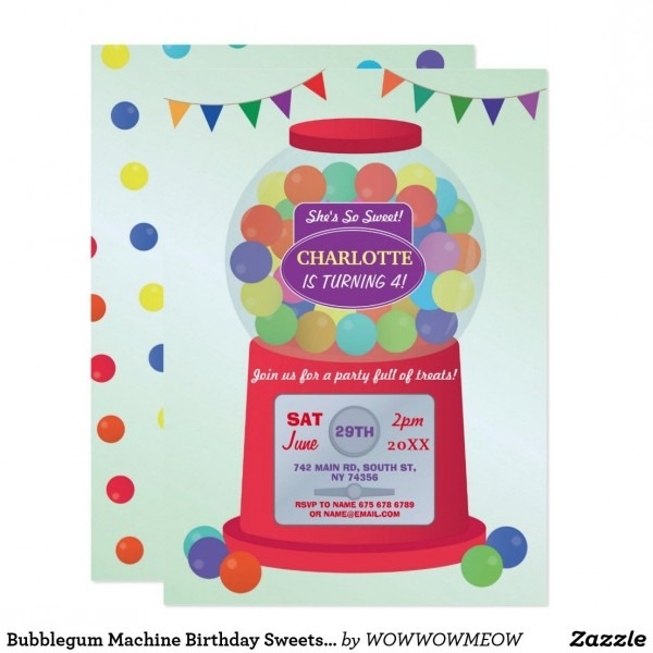 Bubblegum Machine Birthday Sweets Treats Invite