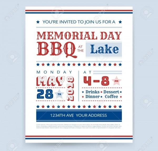 Memorial Day Barbeque Bbq Invitation Design Template Vector