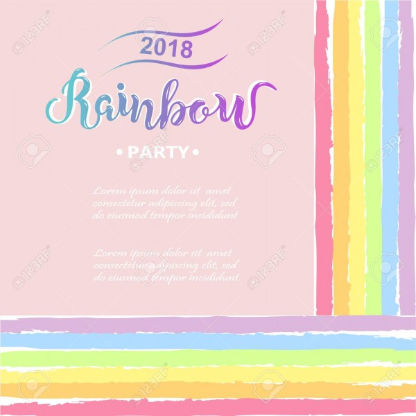 Template For Rainbow Party, Happy Birthday Card, Party Invitation