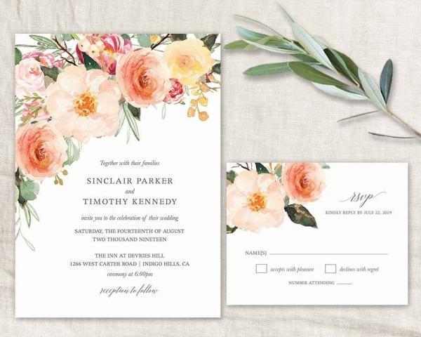 Wedding Invitation 2018 Printable Watercolor Floral Wedding Peach