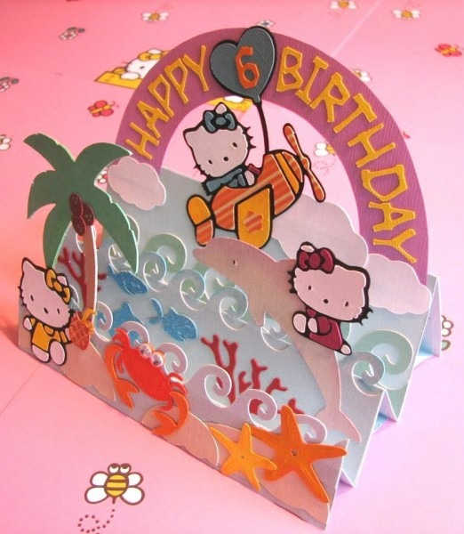 Cricut Step Card  Made This For My Niece  (she Loves Hello Kitty