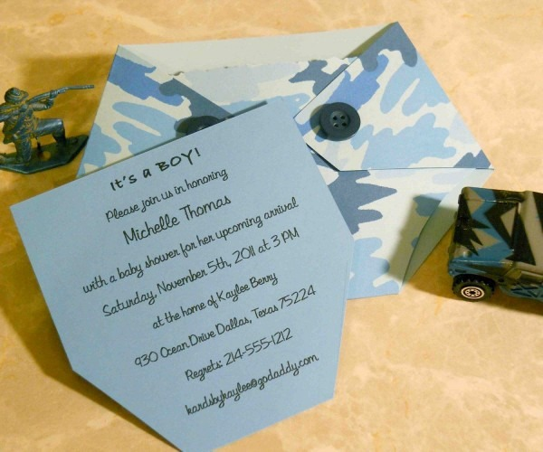 Baby Shower Invitation Blue Camo Diaper Shaped  $3 00, Via Etsy