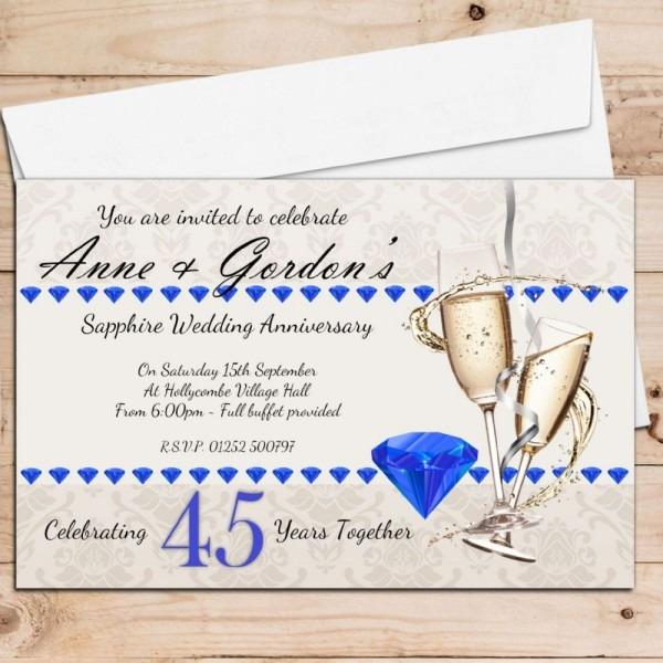 10 Personalised 45th Sapphire Wedding Anniversary Invitations N19