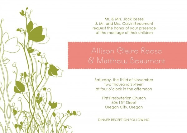 Green Garden Wedding Invitation