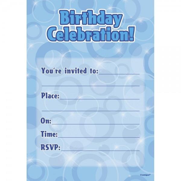 Blue Birthday Glitz Party Invitations X 16
