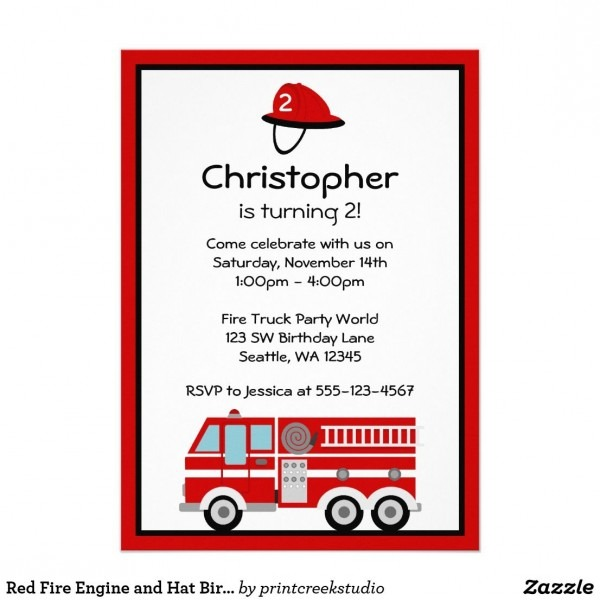 Red Fire Engine And Hat Birthday Party Invitations Fire Truck