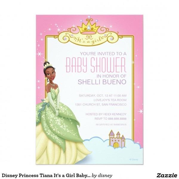 Disney Princess Tiana It's A Girl Baby Shower Invitation