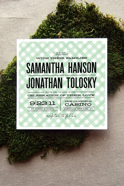 Gingham Type Wedding Invitation  $3 75, Via Etsy