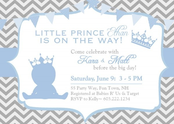 Download Prince Themed Baby Shower Invitations