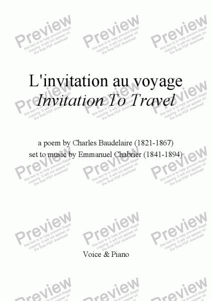 L'invitation Au Voyage (chabrier   Baudelaire)