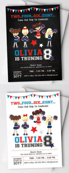 $9 50 Cheerleader Birthday Party Invitation! Cheerleading Birthday