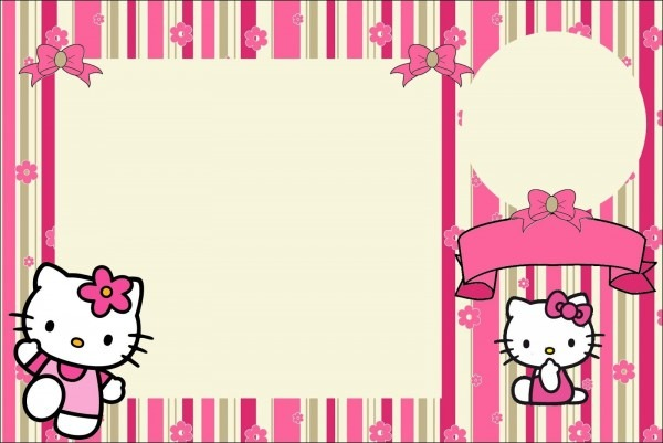 Hello Kitty With Flowers  Free Printable Invitations