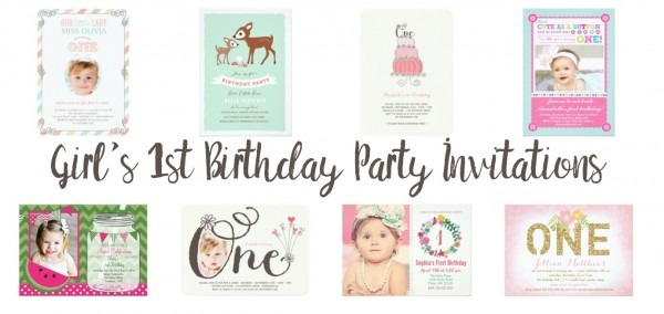Girl's 1st Birthday Party Invitations