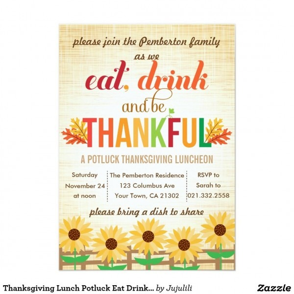 Thanksgiving Lunch Potluck Eat Drink Give Thanks Invitation