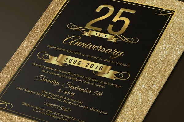 Elegant Anniversary Invitation Template Psd  Download