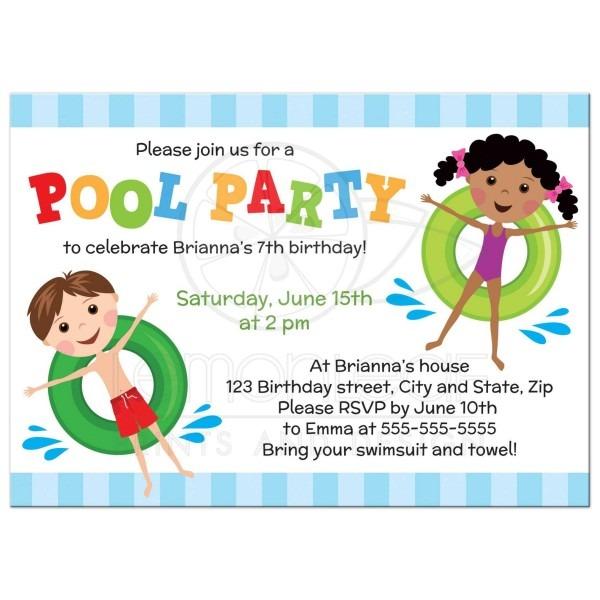 Kids Pool Party Invites