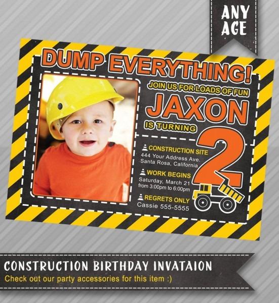 Birthday Invitation Construction Theme , Construction Party, Boys