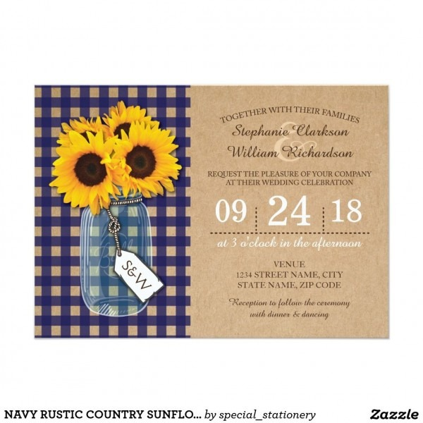 Navy Blue Gingham Yellow Sunflower Rustic Mason Jar Wedding