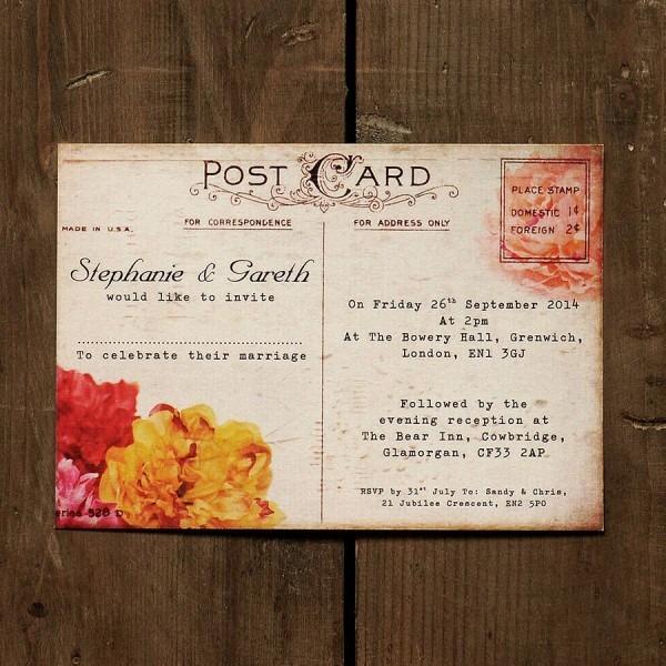 Floral Vintage Postcard Wedding Invitation