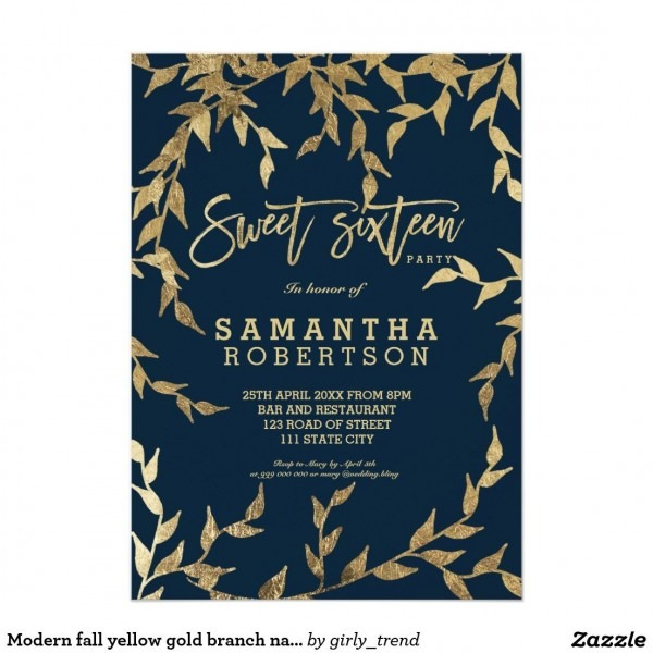 Modern Fall Yellow Gold Branch Navy Sweet 16 Invitation In 2019