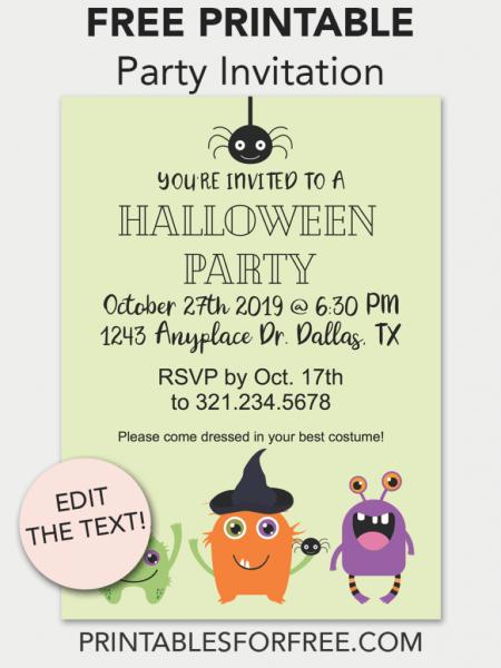 Halloween Monster Printable Invitation