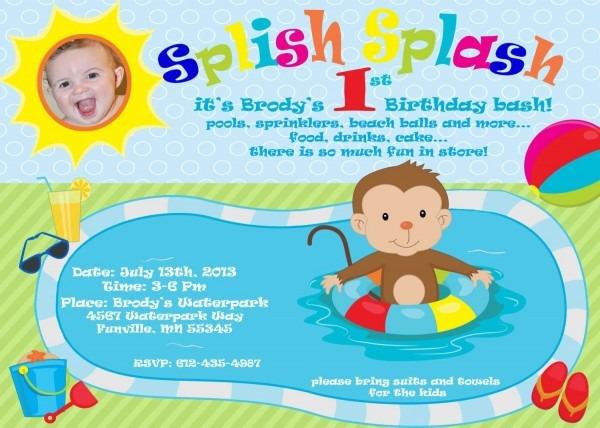 First Birthday Pool Party Splish Splash Photo By Whimsywaydesigns