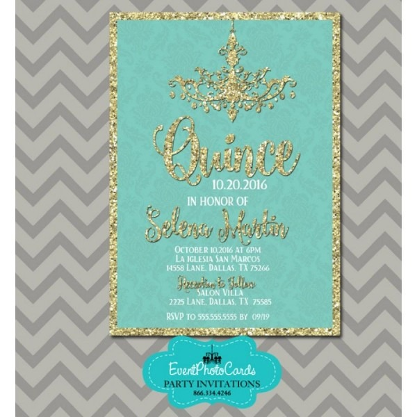 Teal & Gold 15th Birthday Invitations