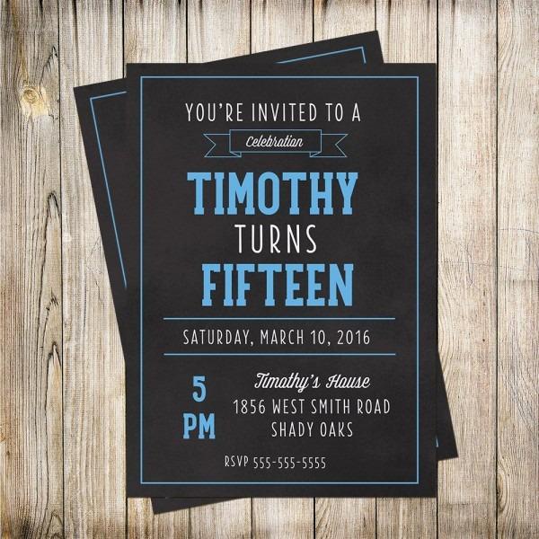 Teen Boys Birthday Invitation, Birthday Invitation, Boys