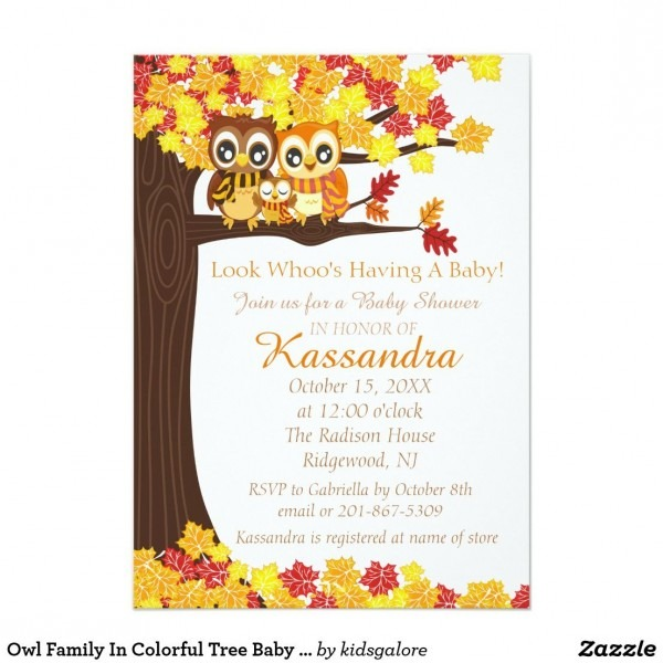 Owl Family In Colorful Tree Baby Shower Invitation In 2018
