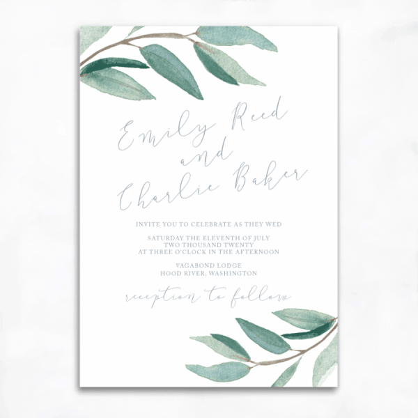 Lovely Eucalyptus Wedding Invitations