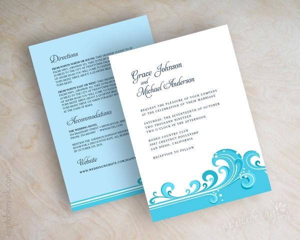 Cyan Blue Wave Beach, Destination Wedding Invitations, Wedding