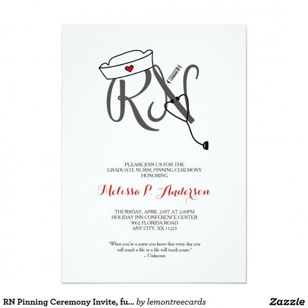 Rn Pinning Ceremony Invite, Fun Nurse Graduation Invitation