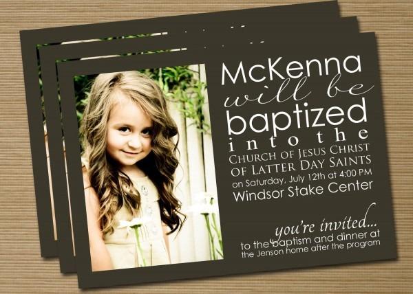 Lds Baptism Announcement Invitation