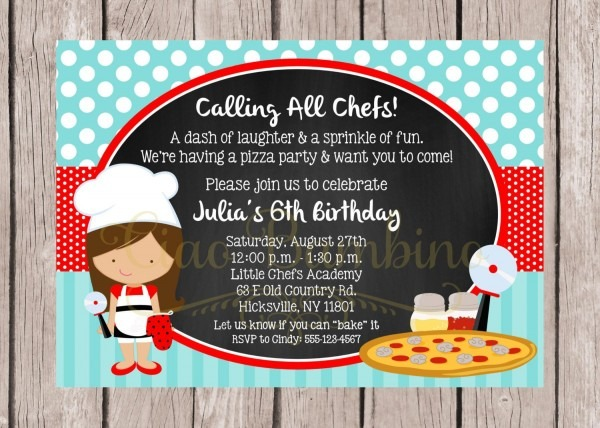 Printable Little Chef Birthday Party Invitation   Pizza Party