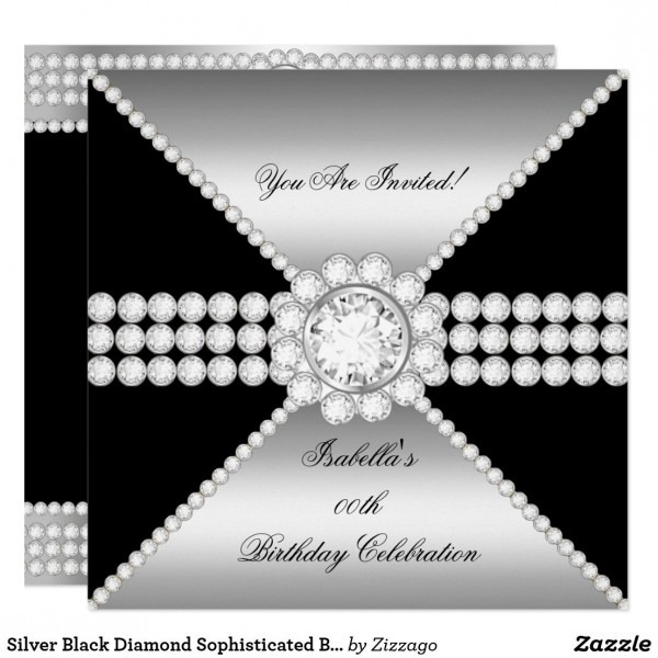 Silver Black Diamond Sophisticated Birthday Party Invitation