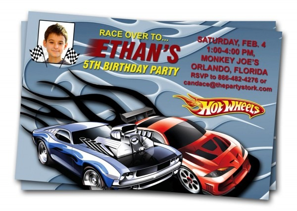 Hot Wheels Car Invitations  Printable Boy Birthday Party Invite