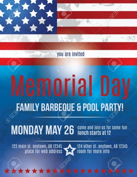 Memorial Day Barbeque Flyer Background Template With American
